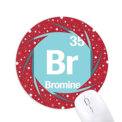 Br Bromin Chemical Element Science Wheel Maus Pad Round Red Rubber