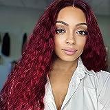 Perücke Weinrot Locken für Damen Lang Curly Synthetische Lace Front Perücken 130% Dichte Natürlich Wig Afro Frauen perucken DE067C
