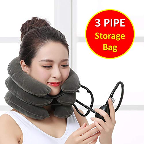 TONELIFE Cervical Neck Traction Device - Instant Pain Relief for Chronic Neck - Effective Pain Relieving Remedy at Home - Adjustable Traction Collar - Cervical Pillow with Storage Bag