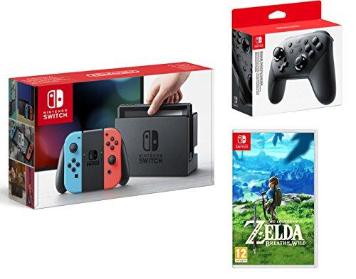 Nintendo Switch console 32Go rouge néon/bleu néon + The Legend of Zelda: Breath of the Wild + Nintendo Switch Pro Controller