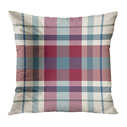 Eaiizer Throw Pillow Cover Celtic Textured Tartan Plaid Soft Polyester Pillowcase Cushion Case Home Decoration for Bedroom Sofa Chair Car 20x20 Inches