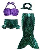 AmzBarley Princesa Sirenita Bañador Disfraz Cumpleaños 4 Piezas Sirena Traje Baño Bikini Set Niña Swimwera Muchschas Chicas Verano 5-6 Años