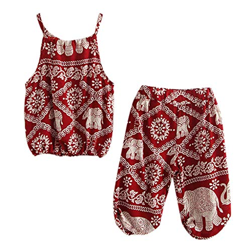 Julhold Kleinkind Baby Mädchen Mode Lässig Cartoon Elefant Print Strap Lose Tops Hosen Kleidung Set Outfits 1-6 Jahre