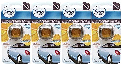 Febreze Car Vent Clips Air Freshener Smoke Odor Eliminator, Citrus Scent, (Pack of 4)