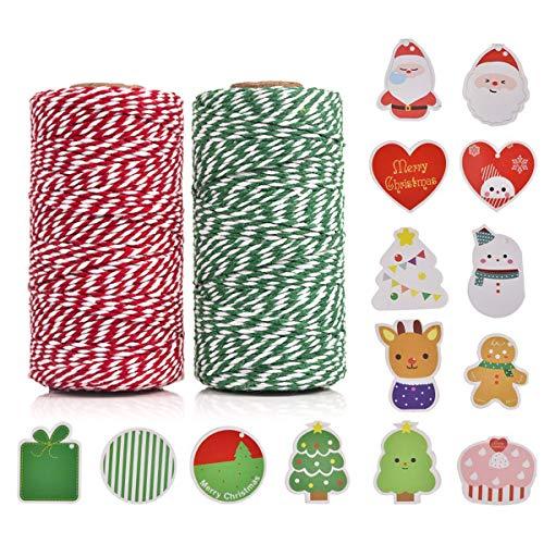 Rote und Grün Bäckerschnur,100% Baumwolle Handwerk Xmas Urlaub Bindfäden, Bäcker Schnur für DIY Handwerk und Geschenkverpackung Bonus mit 14 Stück Weihnachtskarten, 100 m (2 Rolle) by OITUGG