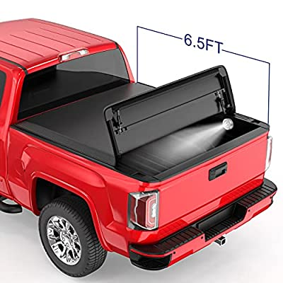 MOSTPLUS Quad FOLD Truck Bed Tonneau Cover Soft Compatible for 1988-2006 Chevy Silverado/GMC Sierra 1500 2500 3500 HD (Incl. 2007 Classic)   Fleetside 6.5 FT On Top
