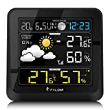 FYLINA Humidit Station with Outdoor Indoor Sensor, 13-in-1 Multifunction 360 Degree View Screen with Temperature Humidity, Digital Alarm Clock, Next 12-24 Hours Weather Forecast, Black