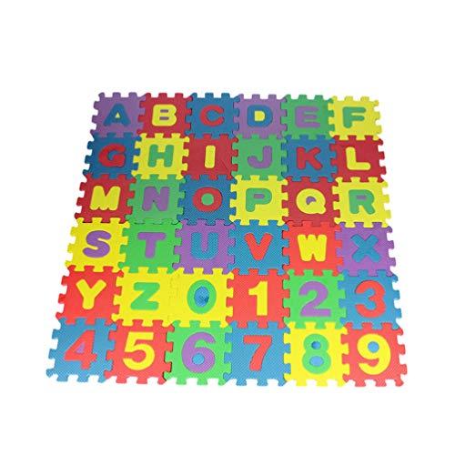 CLISPEED 36 Piezas para Niños Rompecabezas Piso Estera Números Alfabetos Azulejos Estera para Bebés Niños Dormitorio Esteras para El Hogar 12 * 12 Cm