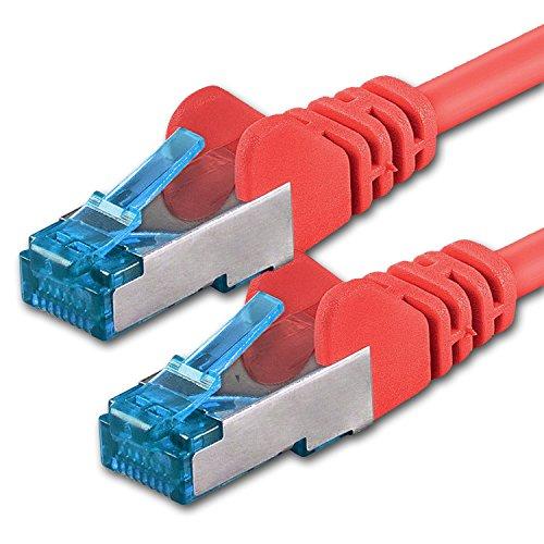 CAT-6-Ethernet-LAN-Netzwerkkabel, 1m, Rot, 10Stück, Set, 10/100/1000/10000MBit/s, Patchkabel, S-FTP, doppelt geschirmt, PIMF, 250MHz, halogenfrei, kompatibel mit CAT 5/CAT 6A/CAT 7, für Switch, Router, Modem, Patchpannel, Zugangspunkt