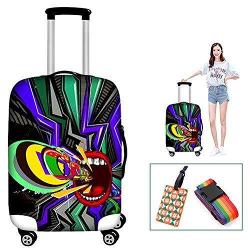 Yeah-hhi Reisekoffer mit 3D-Druck, dick, elastisch, Polyester, Spandex, wiederholtes Waschen ohne Verblassen, für 45,7–76,2 cm, 5, M