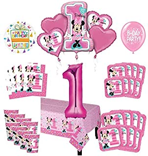 Mayflower Products Minnie Mouse 1st Birthday Party Supplies 8 Guest Decoration Kit and Balloon Bouquet