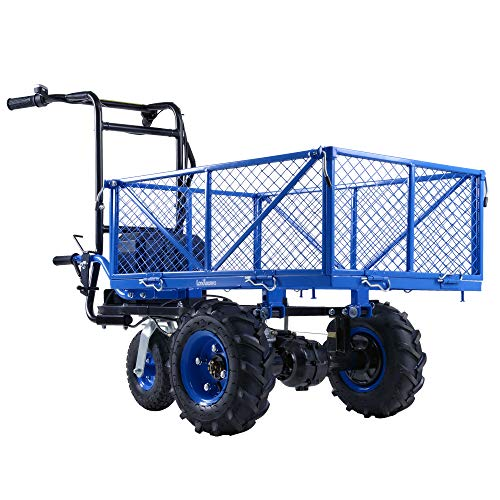 Landworks Utility Service Cart Wheelbarrow Power Wagon Super Duty Electric 48V DC Li-Ion Battery Powered 500LBS Load & 1000LBS+ Hauling Capacity Farm & Garden Dump w/All Purpose Modular Cargo Bed