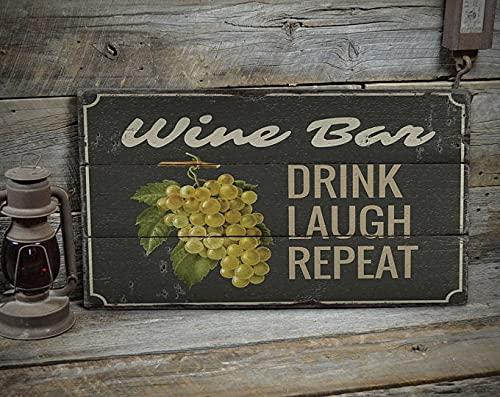 free brand Drink Laugh Repeat, decoración de recogida de uva, Pick Grape Here, cartel del mercado del vino, decoración de ventas de madera, decoración de madera para cabaña – decoración de madera