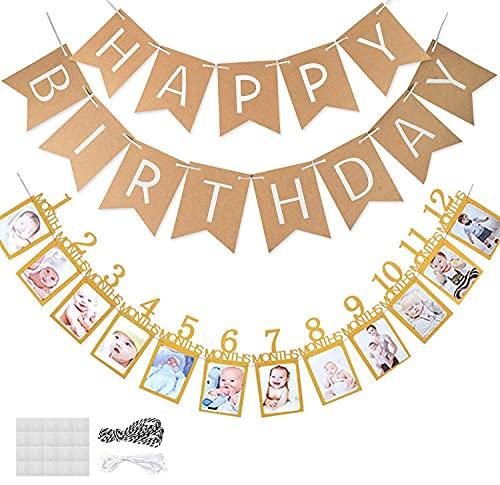 1. Guirnalda de cumpleaños para niñas y niños, guirnalda de 12 meses de primer año de vida, para fotos y cumpleaños de arpillera para primera comunión, fiesta de cumpleaños, baby shower.