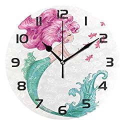 Dozili Mermaid Girl Decorative Wooden Round Wall Clock Arabic Numerals Design Non Ticking Wall Clock Large for Bedrooms, Living Room, Bathroom