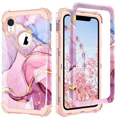 PIXIU Compatible with iPhone Xr Cases Marble, Hybrid Dual Layer [Hard PC+ Soft Silicone] Heavy Duty Full Body Shockproof Protective Phone case for iPhone Xr 6.1 inch 2018 Released
