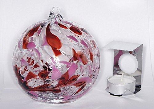 Glaskugel zum Aufhängen, Geburtsstein Juni-Perle, Tropfenform