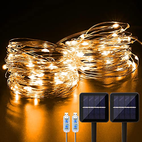 Solar Fairy Lights 2 Pack 66Ft 200LED Solar String Lights Outdoor with 8 Lighting Modes Solar Powered Waterproof Garden Lights Decoration Copper Wire Lights for Patio Christmas Camping (Warm White)