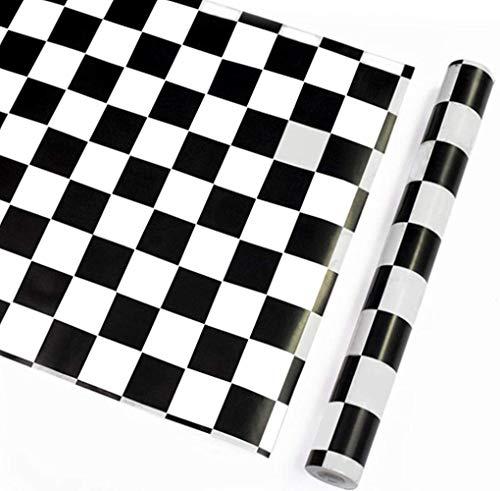 WDragon Adhesivo Blanco Negro Mosaico Backsplash Azulejos Papel Adhesivo Brillante Película de Vinilo Cocina Encimera Peel Stick Adhesivo Papel Pintado 45 cm por 250 cm