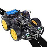 Smart Robot Car Chassis Kit with Program,Toy Car Kit for Kits, Adults, Graduation Project,Multi-Functional with Line Tracking, Obstacle Avoidance for Beginner