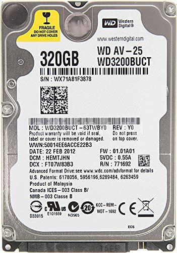 Western Digital WD AV-25 WD3200BUCT - Disco rigido interno da 320 GB, 5400 giri/min, cache da 16 MB, 3,0 Gb/s, 2,5', per videosorveglianza (WD AV 320) WD3200BUCT_320GB