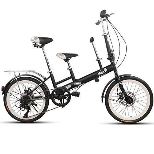 Axdwfd Kinderfahrräder 20 Zoll Fahrrad, Mutter und Kind Tandem Folding Shifting Scheibenbremse Zaun Sicherheitsgurt Doppel Mutter Abholen Kind Fahrrad (Farbe : SCHWARZ)
