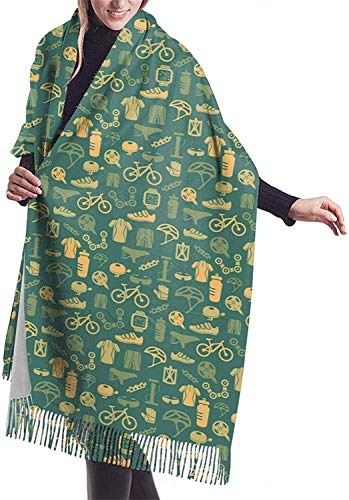 Bufanda de cachemira para mujer con patrón de bicicleta,Bufanda de invierno con borla clásica,Chal grande de abrigo de manta XXX