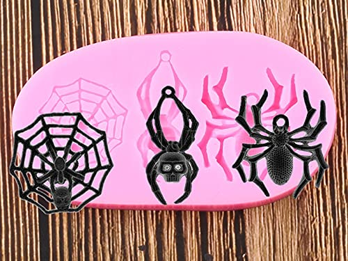 YCHH DIY Spider Molde de Silicona Polímero Resina Arcilla Molde Fondant Torta Decoración Herramientas Chocolate Gumpaste Candy Molds