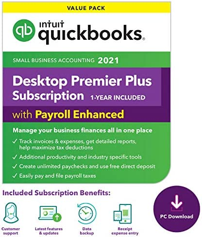 QuickBooks Desktop Premier Plus with Enhanced Payroll 2021 Accounting Software for Small Business product image