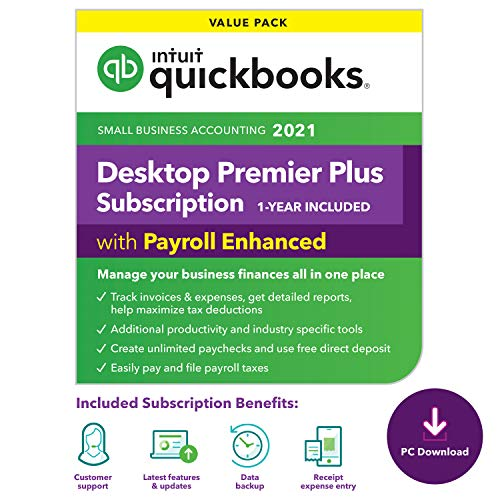 QuickBooks Desktop Premier Plus with Enhanced Payroll 2021 Accounting Software for Small Business 1-Year Subscription with Shortcut Guide [PC Download code]