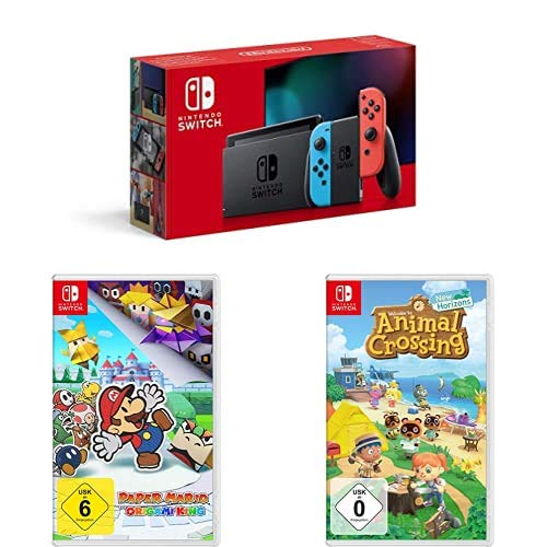 Nintendo Switch Konsole - Neon-Rot/Neon-Blau (2019 Edition) + Paper Mario: The Origami King [Nintendo Switch] + Animal Crossing: New Horizons [Nintendo Switch]