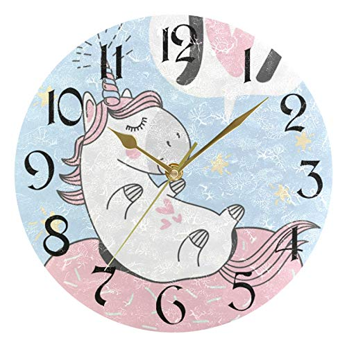 ART VVIES 10 Inch Round Wall Clock Non Ticking Silent Gold Pointer Battery Operated Office Kitchen Bedroom Home Decorations - Unicorn Donut Swimming Ring