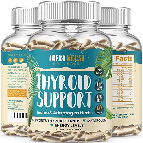 Thyroid Support with Iodine 1069mg Extra Strength Supplement for Metabolism Energy Focus Fatigue product image