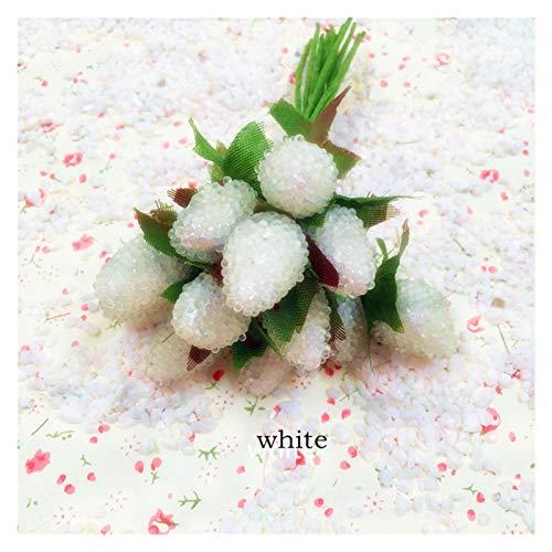 XIAOZSM Trockenblumen 10 stücke Künstliche Glasbeeren Frucht Rot Kirsche Kunststoff Früchte für Zuhause Hochzeit Dekoration Gefälschte Erdbeere Künstliche Blumen (Color : White)