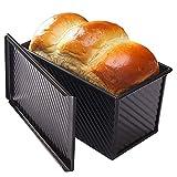 CANDeal Molde para Pan con Tapa, Utensilios para Hornear antiadherentes Molde para tostar Pan de Acero al Carbono con Tapa para Hornear Pan - Negro