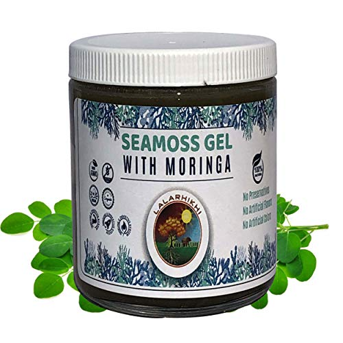 Dr Sebi Wildcrafted Sea Moss Gel with Moringa Organic Irish Seamoss with 92 Minerals and Vitamins, Cell Food for Energy, Natural Weight Loss, Digestion, Radiant Skin and More, 8oz