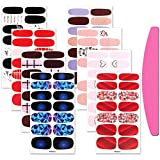 SILPECWEE 8 Sheets Adhesive Nail Polish Wraps Decals and 1Pc Nail File Cartoon Nail Art Stickers Nail Strips Manicure Kit for Women
