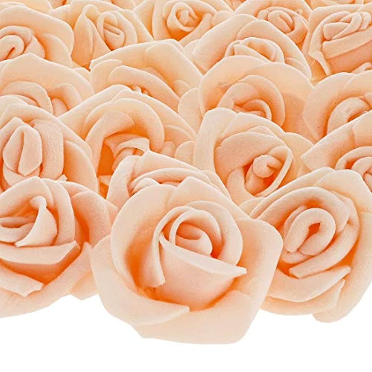 Bright Creations 200-Pack Peach Rose Flower Heads for DIY Crafts, Weddings, Decor, 3 x 2.5 Centimeters