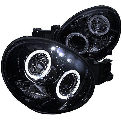 Spec-D Tuning Dual Halo Led Projector Headlights Glossy Black Housing Smoke Lens for 2002-2003 Impreza Wrx Head Light Assemply Left + Right Pair