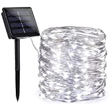 Toodour Solar String Lights, 72ft 200 LED 8 Modes Solar Fairy Lights, Waterproof Solar Outdoor String Lights, Copper Wire Fairy Lights for Garden, Party, Wedding, Holiday Decorations (White)