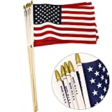 GiftExpress 24-Pack 12x18 Inch American Flag Proudly Made in U.S.A. Handheld US Stick Flags with Spear Gold Tip, Pole Hem Stitched Made in U.S.A American Stick Flags