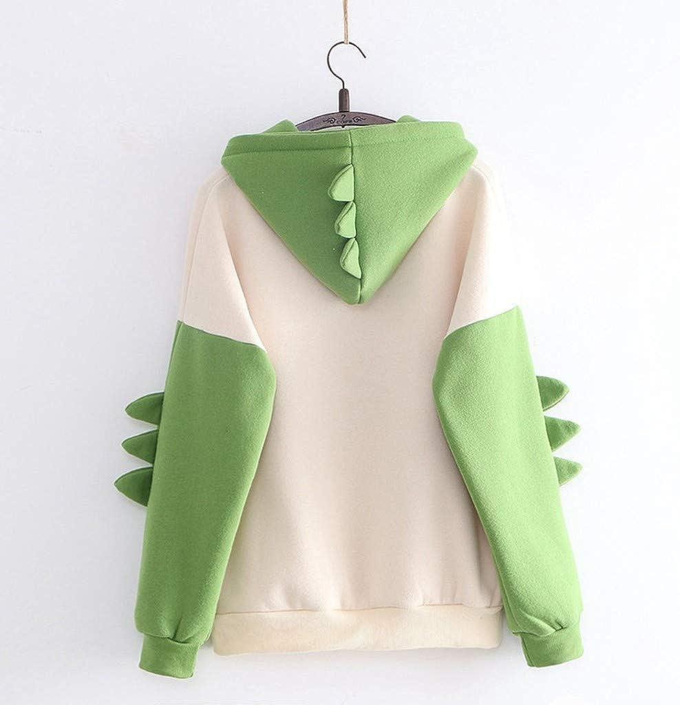 AODONG Hoodies for Women Cute Dinosaur Hooded Pullover Tops Casual Long Sleeve Splice Tops Sweaters Cartoon Sweatshirt