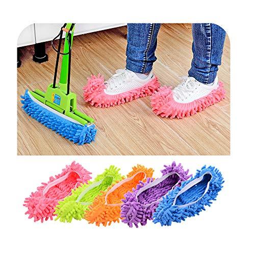 RAILONCH 5 Paare Staubmopp Wischmop Bodenreiniger Hausschuhe Schuhreinigung, Mikrofaser Fuß Socken Fußboden Staub Schmutz Haar Reiniger Multifunktion (A)