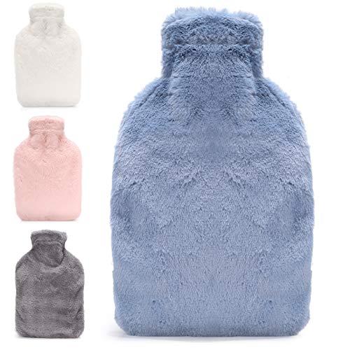 Bolsa agua Caliente con Funda de Bolsillo Canguro, ONKING 2L Bolsas de Agua Calientecon Suave Felpa Funda Goma Natural para Adultos y Niños [Actualizar el diseño en 2020]-Azul