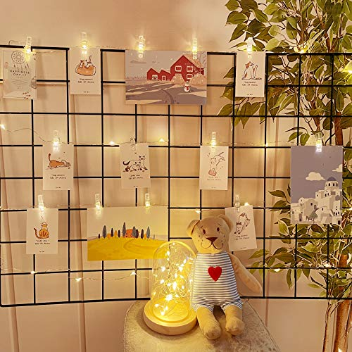 Photo Clip String Lights, Dalugo 2M 20 LED Battery Powered Photo Pegs Fairy Lights with 20 Clips, Hanging Photo Decorations for Bedroom Birthday Wedding Party Christmas