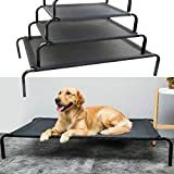 Metal Frame Dog Cot Elevated Pet Bed Raised Dog Pet Bed with Breathable Mesh &No-Slip Rubber Feet, Lightweight & Portable Bed For Indoor Outdoor Camping Beach Travel Use, 114x76x15CM