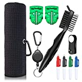 XAegis GT13 Golf Towel and Brush to Clean Golf Club with Magnet Divot Tool,Golf Ball Liners,Pens - 9 in 1 Golf Accessories,Black