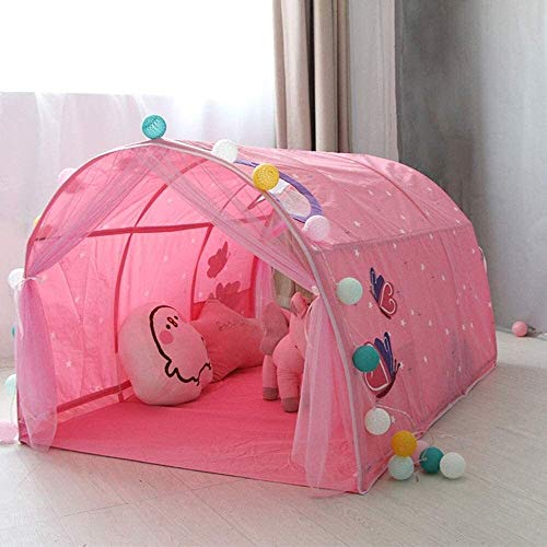 Lhak Portable outdoor tent Hiking camping tent Children play with toys for boys and girls kids play tunnel imaginative playground (Color : Pink, Size : 140x100x80cm)