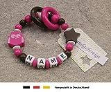 Baby Greifling Beißring geschlossen mit Namen - individuelles Holz Lernspielzeug als Geschenk zur Geburt Taufe - Mädchen Motiv Eule Stern in pink