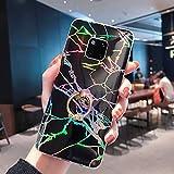 Uposao Compatibile con Huawei Mate 20 Pro Marmo Disegni Creativo Bling Brillantini Ultra Sottile Marble Bumper Morbido Case Silicone Gel TPU Gomma Glitter Laser Colorato Flessibile Cover,Nero